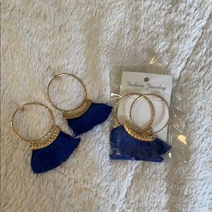 Never Give Up This Love Earrings Royal Blue
